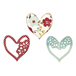 SIZZIX THINLITS SET- ALLURING HEARTS, 6,35X6,35CM-